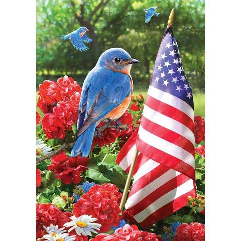 Bluebird Salute - Standard Size, Decorative Double Sided, Licensed and Copyrighted Flag - Printed IN USA by Custom Decor Inc. 28 Inch X 40 Inch ()