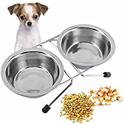 OWIKAR Dog Bowls Stainless Steel Double Bowls With Stand For Small Medium Large Dogs Elevated 2 Bowls Round Pet Dog Cat Rabbit Food and Water Bowl with Non-skid Base Mount (8.3inch)