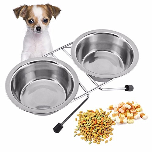 OWIKAR Dog Bowls Stainless Steel Double Bowls With Stand For Small Medium Large Dogs Elevated 2 Bowls Round Pet Dog Cat Rabbit Food and Water Bowl with Non-skid Base Mount (Single Bowl Mount)