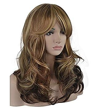 Amazon Com Sexy Big Wave Inclined Bang Wig Long Curly Hair Mixed