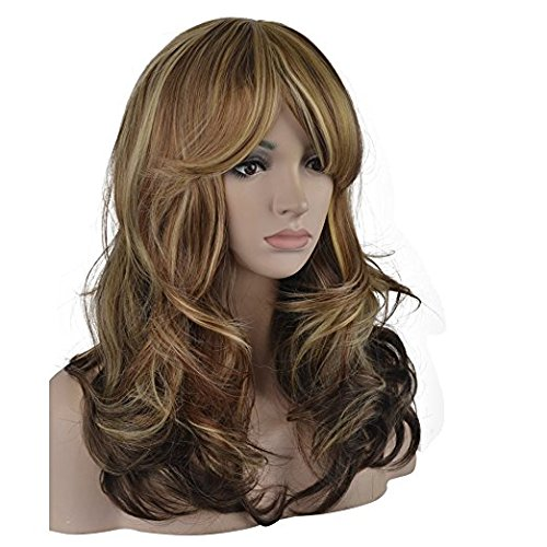 Sexy Big Wave Inclined Bang Wig Long Curly Hair Mixed Blonde Auburn Highlights Fluffy Air Volume With Free Wig Cap]()