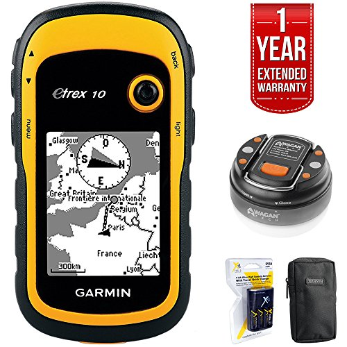 Handheld Lantern - Garmin eTrex 10 Worldwide Handheld GPS Navigator (010-00970-00)+ LED Brite-Nite Dome Lantern Flashlight + Carrying Case + 4X Rechargeable AA Batteries w/Charger + 1 Year Extended Warranty