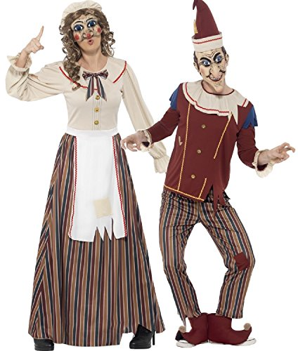 Couples Ladies and Mens Possessed Evil Punch and Judy Halloween 60s Traditional Seaside Comedy Fancy Dress Costumes Outfits (UK 16-18 : Men - Medium) for $<!--$109.48-->