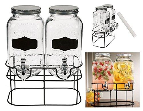 3.5 Litre Double Glass Dispenser Jar On Metal Rack Soft Drinks Beverage Serving Dispenser Tap Juice Water Carrier Dispenser Jar Chalk Wilsons Direct