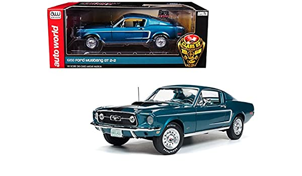1968 Ford Mustang >> Amazon Com Auto World 1968 Ford Mustang Gt 2 2 Aqua Blue Class Of