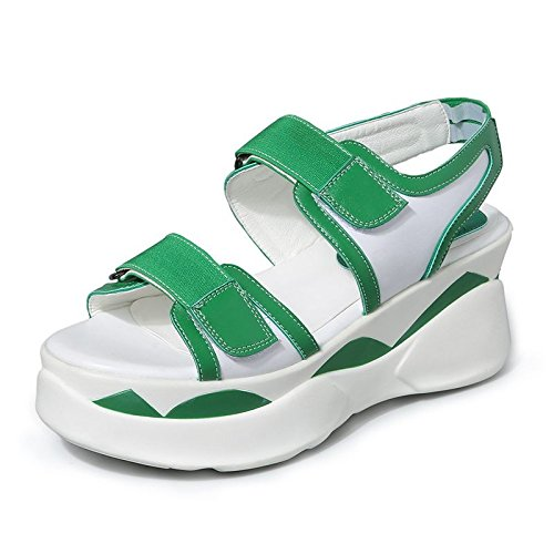 Xing Lin Ladies Sandals Sandals Female Students Summer New Shoes Flat Shoes Women 'S Platform Sports And Leisure Velcro green