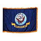 Online Stores Indoor Navy Nylon Flag with Indoor Pole Hem and Fringe, 3 by 5-Feet For Sale