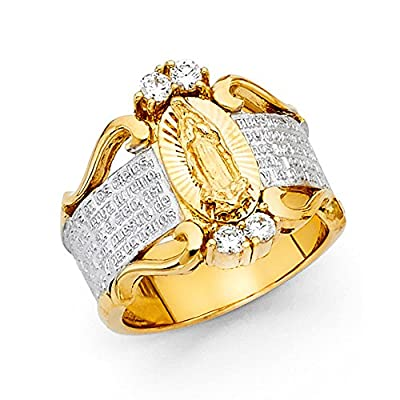 14K Solid Yellow Gold Cubic Zirconia 16mm Two Tone Religious Ring by Paradise Jewelers