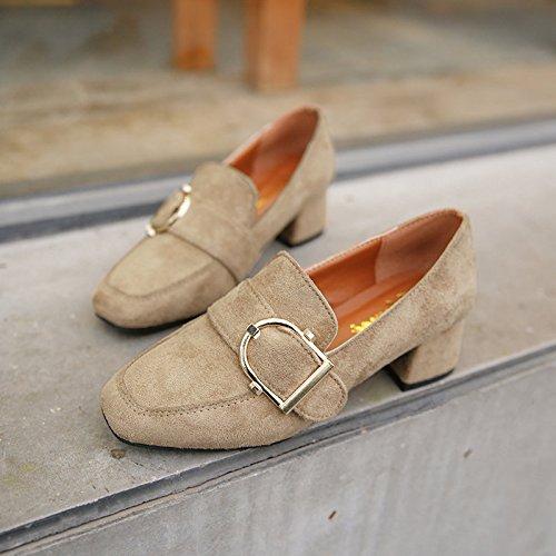 GAOLIM La Abuela De Cabeza Cuadrada Zapatos Zapatos De Mujer En La Primavera Con Cadena Metálica, Con Zapatos Zapatos M blanco