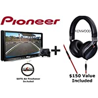 Pioneer AVIC-8201NEX 7 DVD Navigation Receiver with Built in Bluetooth, Backup Camera, Apple CarPlay, Android Auto with a Kenwood KH-KR900 Over the Ear Headphones and a FREE SOTS Air Freshner