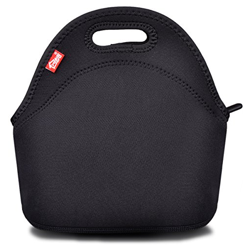 (Black Neoprene Lunch Tote, Yookeehome Thick Reusable Insulated Thermal Lunch Bag Small Neoprene Lunch Box Carry Case Handbags Tote with Zipper for Adults Kids Nurse Teacher Work Outdoor Travel Picnic)