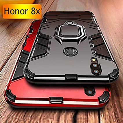 Huawei Huawei Honor 8X Case Mobistyle Sleek Metal Ring Stand Hybrid PC &  Silicone Phone Back Cover Case for Honor 8X (Metallic Blk)