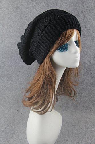opuesta elásticos Sombreros unisex montón de lateral Sombreros Sombreros lana gorrita de de punto de Negro tejida hop hip 8Rawq