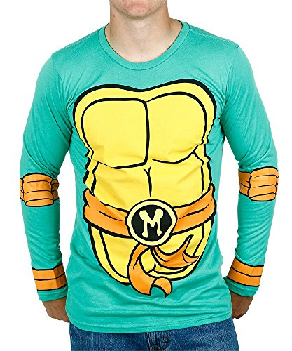 Teenage Mutant Ninja Turtles Michaelangelo Costume Longsleeve Adult T-Shirt (X-Large) (Shredder Costume For Adults)