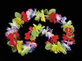 Tropical Isle Deluxe Luau Flower Pedal Leaves 40'' Fabric Leis, Rainbow, 12 Pack