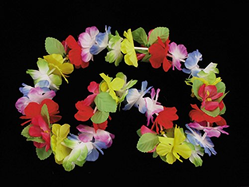 Tropical Isle Deluxe Luau Flower Pedal Leaves 40'' Fabric Leis, Rainbow, 12 Pack by Tropical Isle