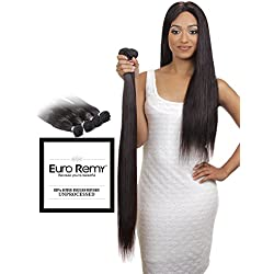 EURO REMY Brazilian Virgin 100% Unprocessed Human Hair Extensions - Weave - Straight - 22 inches Natural