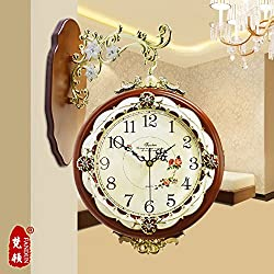European-Double Sided Wall Clock Antique Large Wall Mounted Modern Quiet Simple And Fashionable Atmosphere In The Living Room Of Quartz Watches,20 Inch,New 978-Coffee Color