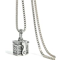 Ransopakul Chic Cremation Jewelry Metal Urn Necklace Memorial Pendant Ash Holder Keepsake