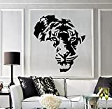 BorisMotley Wall Decal Tiger Africa Map Vinyl Removable Mural Art Decoration Stickers for Home Bedroom Nursery Living Room Kitchen