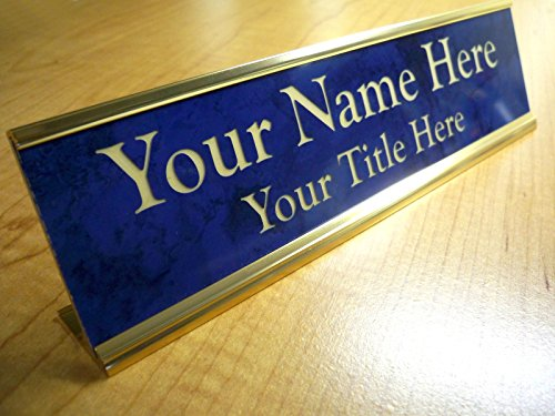 Marble Desk Nameplates (Custom Engraved 2x8 Premium Name Plate & Desk Holder | Marble Blue & Gold | Personalized Customized Desk Tag Sign)