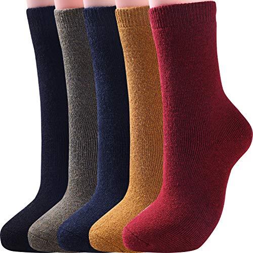 5 Pairs Womens Wool Socks Thick Warm Winter Vintage Knit Thermal Socks (Solid Dark Color)