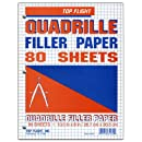 Top Flight Filler Paper, Quadrille Rule, 10.5 x 8 Inches, 80 Sheets (81060)