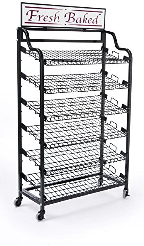 Displays2go BAKCRT6WBK Standing Bakers Rack with 2-Optional Sign Holders, Wire Storage Rack and Wheels, Black