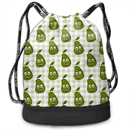 Cartoon Cute Avocado Outdoor Bundle Backpack Drawstring Backpack Bags Pack Travel Sport Gym Sack Bag for Men/Women and Kids