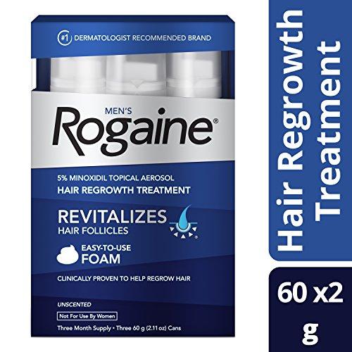 Mens Rogaine Hair Loss & Hair Thinning Treatment Minoxidil Foam, Three Month Supply