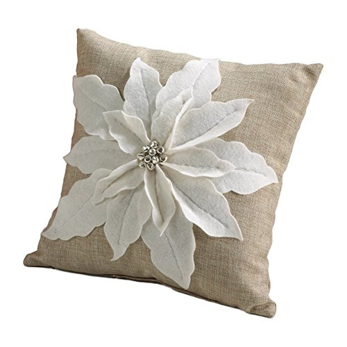 White Poinsettia Felt Holiday Design Decorative Throw Pillow, 17-inch Square