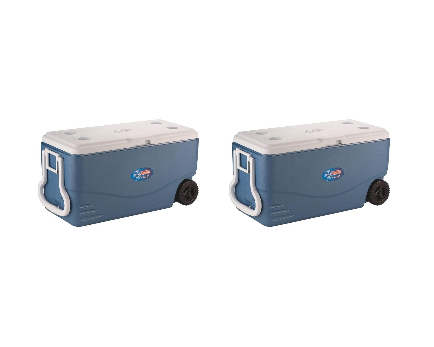 Coleman 100-Quart Xtreme 5-Day Heavy-Duty Cooler with Wheels, Blue (2 Set, 100-Quart, Cooler, Blue)