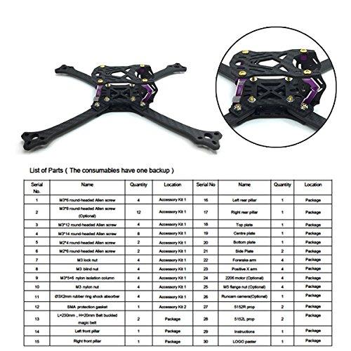 211mm FPV Frame Racing Quadcopter Kit Carbon Fiber Forerake X Arm Frame Kit by Crazepony (Forerake Frame Kit) by Crazepony (Image #7)