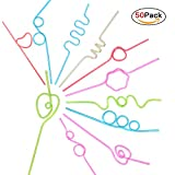 JOYEAN Crazy Straws 50pcs for Kids, Fun Varied Twists and Vibrant Colors Silly Straws