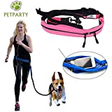 Petparty Pet Jogging Waist Belt Leash Hand Free Leash for Medium to Large Size Dog (Pink)