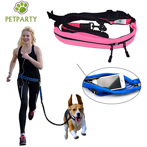 Petparty Pet Jogging Waist Belt Leash Hand Free Leash for Medium to Large Size Dog (Pink) by Petparty