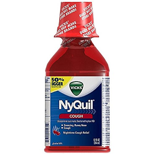 Nyquil Cough Liquid - Vicks Nyquil Nighttime Cough Relief Liquid, Cherry 12 oz (Pack of 4)