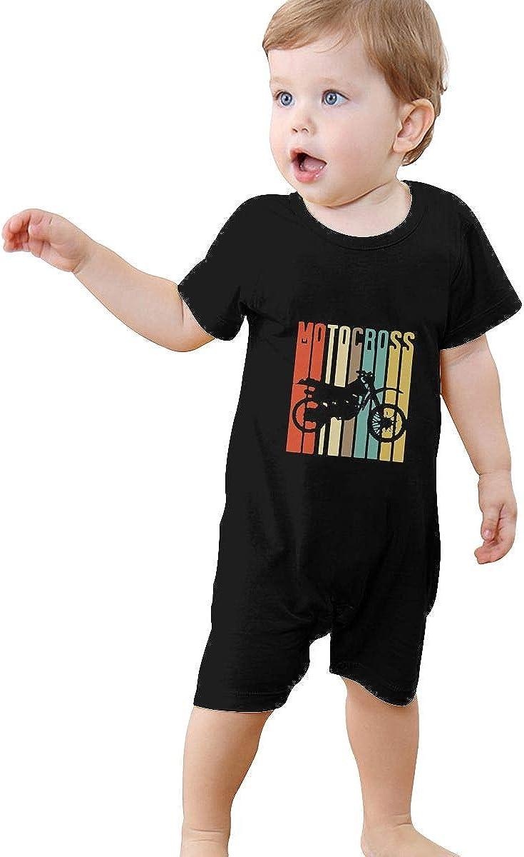 Short Sleeve Cotton Bodysuit for Unisex Baby Soft Retro Style Bermuda Silhouette Crawler