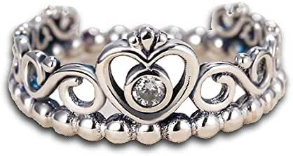 Women's 925 Sterling Silver Crown with Cubic Zirconia Bead Stackable My Princess Tiara Rings