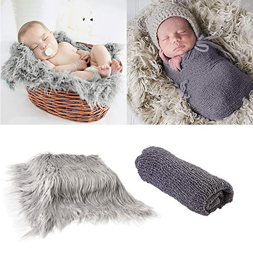 2Pcs Baby Newborn Photo Props Wraps & Photography Mat, DIY Newborn Baby Photo Blanket Swaddle Photography Props Wraps, Infant Soft Faux Fur Photography Backdrops Mat Rug for Baby Boys Girls ()