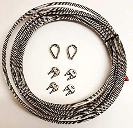 Diameter : 3mm // Length: 50m Stainless Steel A4 Marine Grade Wire Rope Cable 2 x Thimble 4 x Rope Clamp