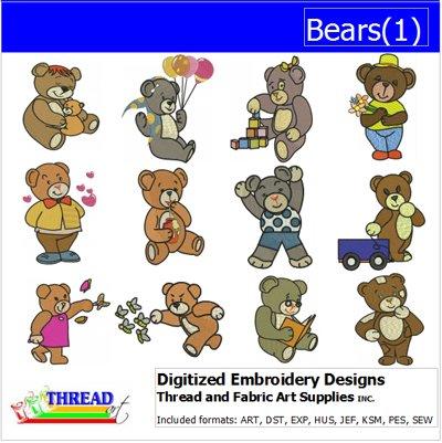 Threadart Machine Embroidery Designs - Bears(1) - USB Stick