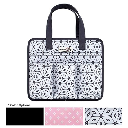 Everything Mary Grey Geometric Deluxe Tag Along Storage Organizer Tote - Bin for Tools, Crafts, Home, Garage, Make-Up, Desk, Nursery, Supplies Storage Bin with Handles for Travel ()