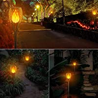 Luces de Antorcha Solar 2 Piezas, Zeonetak Luces de Jardín Solares ...