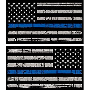 PAIR Thin Blue Line Missouri Reflective Tattered Flag Police Support Decals