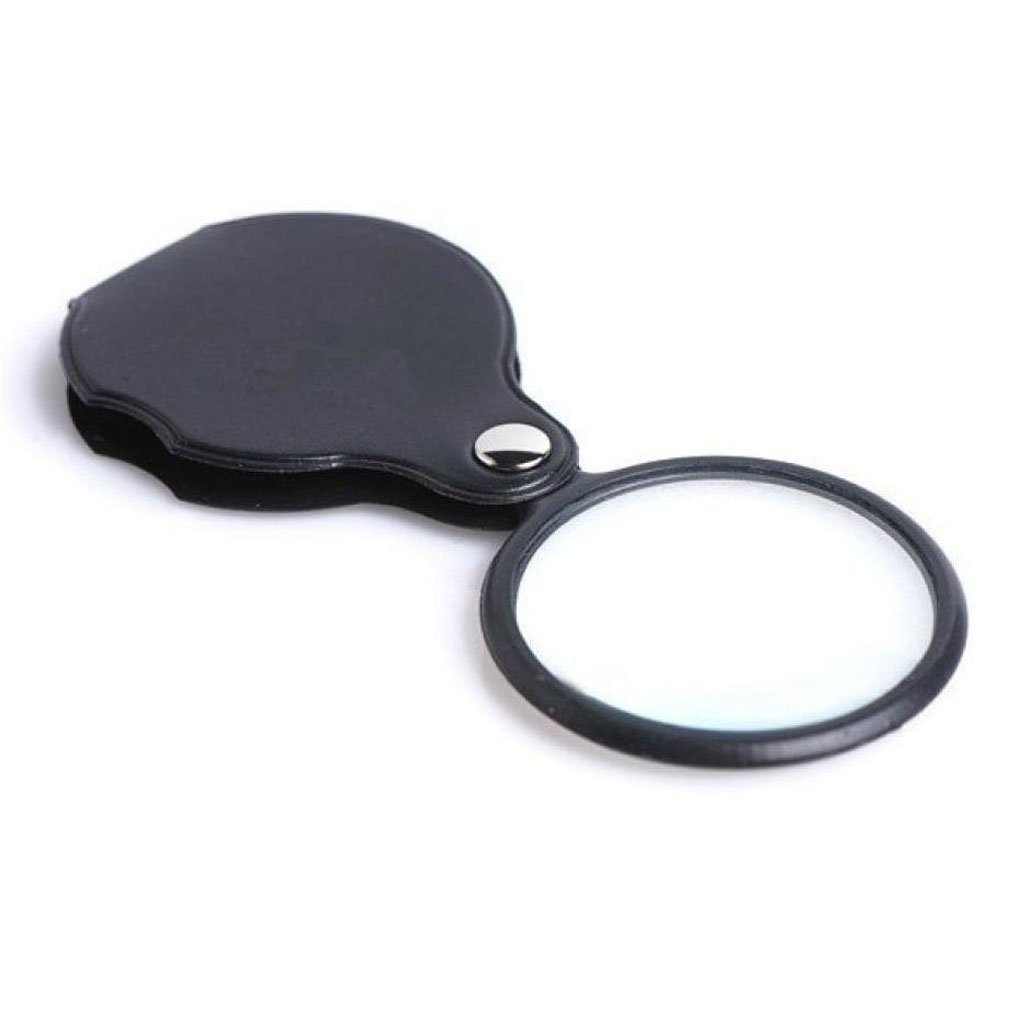 Portable Mini 10x Pocket Folding Magnifier with Rotating Protective Read Leather Holster, 60mm Diameter Mishiner