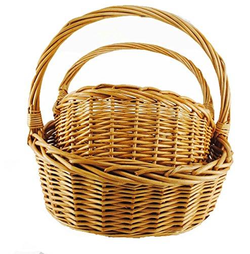 TOPOT 8set Set of 2-Piece Honey Brown Wicker Picnic Basket wholesale lot -