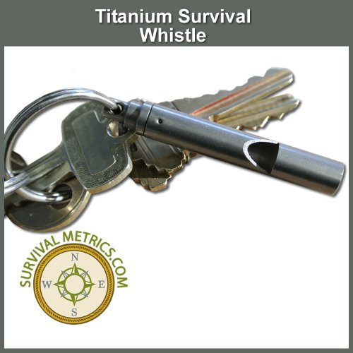 Titanium Rescue Whistle - With Lanyard - Fits on Key Chains - 100+ Decibel