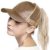 ScarvesMe C.C Glitter Ponytail Cap Messy Buns Trucker Baseball Ponycap Hat (Smokey Topaz)