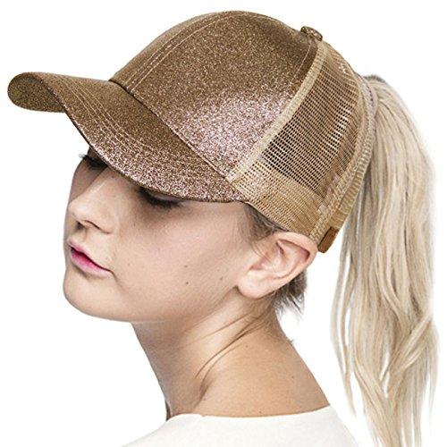 ScarvesMe C.C Glitter Ponytail Cap Messy Buns Trucker Baseball Ponycap Hat (Smokey Topaz) by ScarvesMe